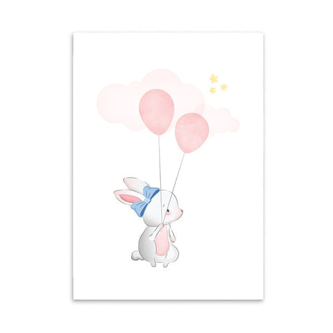 AFFICHE LAPIN BALLONS - My Poppy Shop