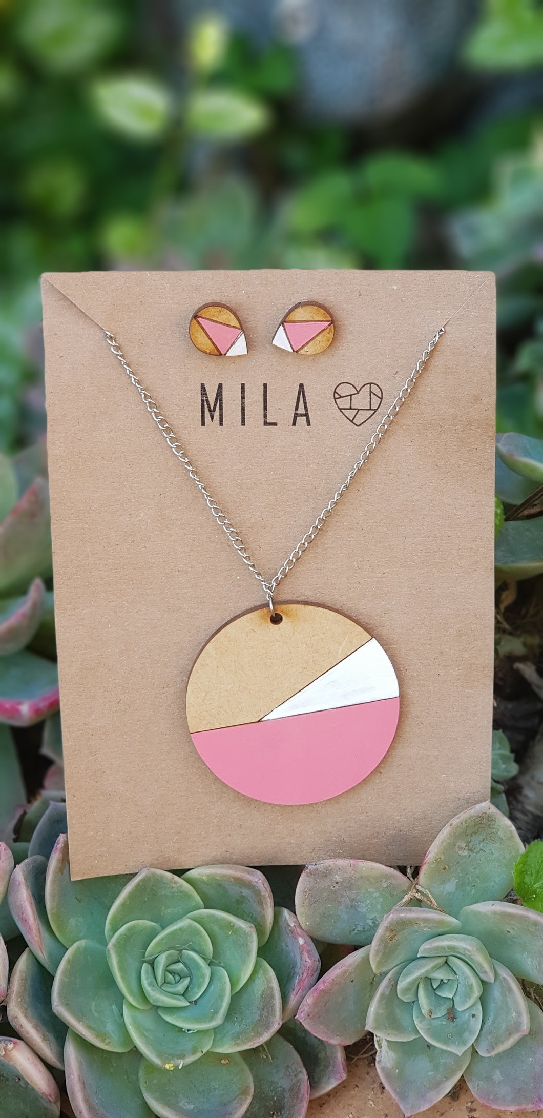 Mila Pink Wooden Circle Necklace & Earrings