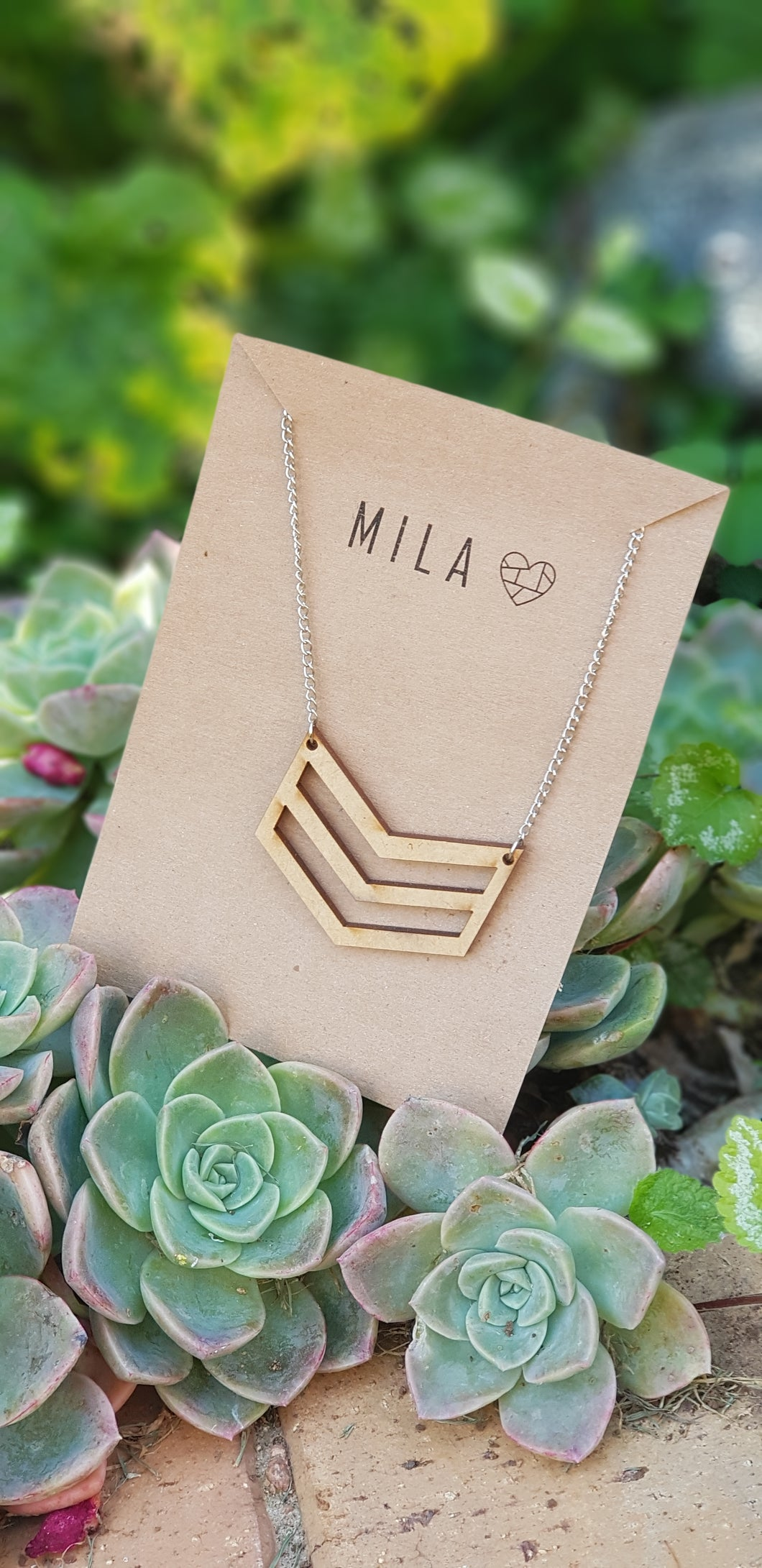 Mila Wooden 3 Strand Necklace