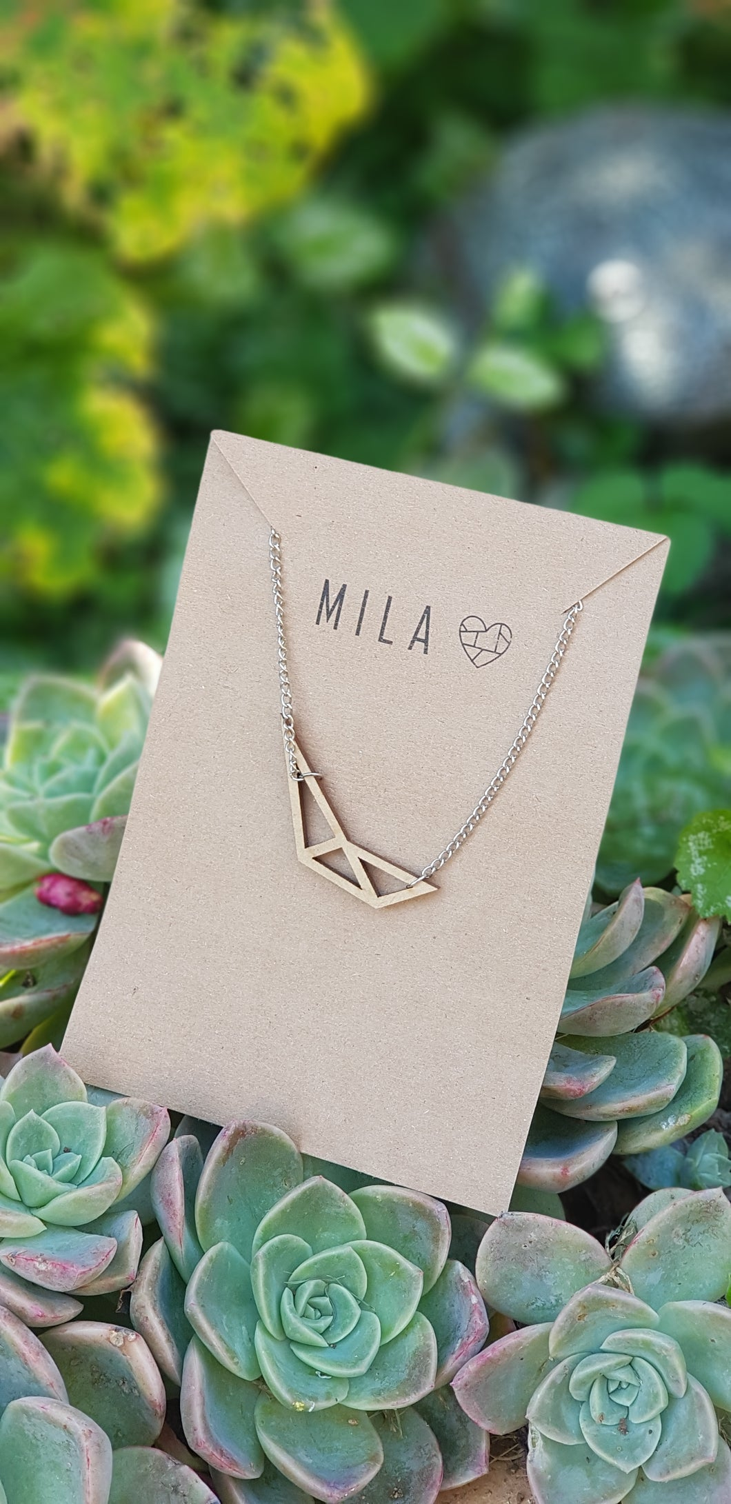 Mila Wooden Abstract A  Necklace