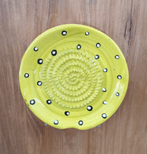 Yellow and Black Dots African Grater Plate