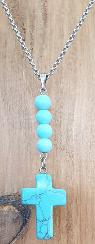 Beaded Blue Cross Necklace
