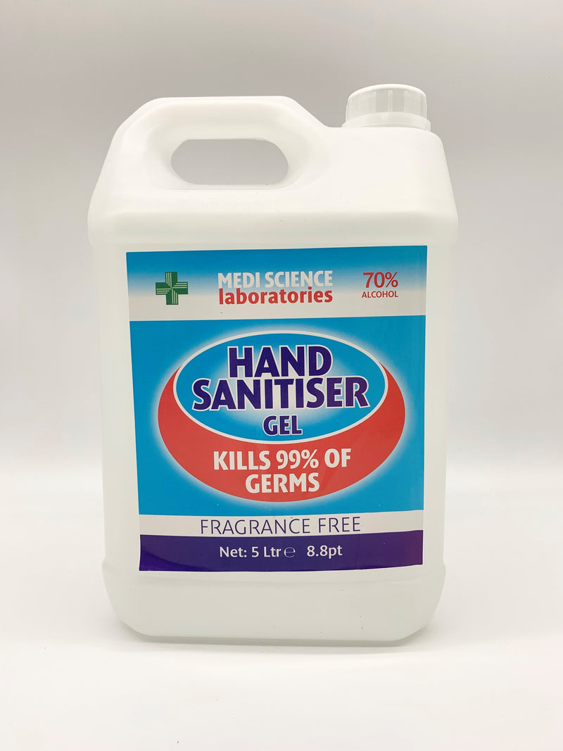 5 Litre MEDI SCIENCE SUPER STRENGTH HAND SANITISER GEL (70% ALCOHOL)