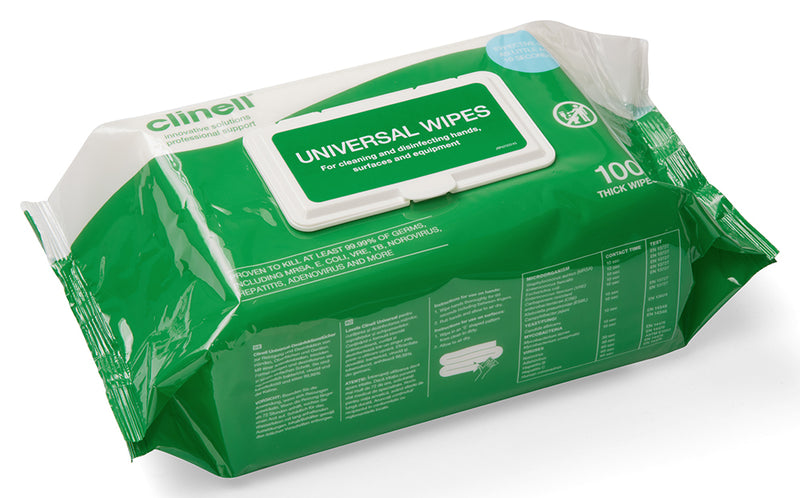 Clinell Universal Sanitising Anti-Bacterial Wipes (100 wipes per pack)