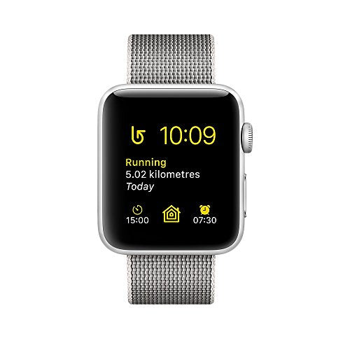 Apple Series 2 42 mm Aluminium Case Smart Watch with Woven Nylon Band - Silver/Pearl