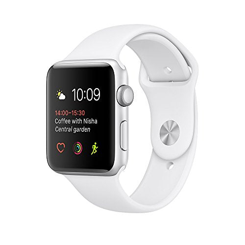 Apple 38 mm Series 1 Smart Watch with White Sport Band - Silver