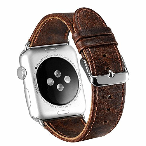 Apple Watch Band 38mm Series 2 Pinhen Vintage Genuine Leather Strap Wrist Band Replacement Watchband with Metal Clasp And Adapters for Apple Watch Series 1 and Series 2 (38MM Coffee)