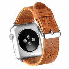 Apple Watch Band 38mm Series 2 Pinhen Vintage Genuine Leather Strap Wrist Band Replacement Watchband with Metal Clasp And Adapters for Apple Watch Series 1 and Series 2 (38MM Brown)