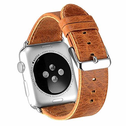 Apple Watch Band 42mm Series 2 Pinhen Vintage Genuine Leather Strap Wrist Band Replacement Watchband with Metal Clasp And Adapters for Apple Watch Series 1 and Series 2 (42MM Brown)