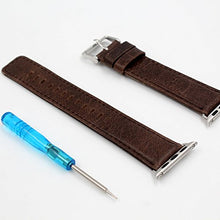 Apple Watch Band 42mm Series 2 Pinhen Vintage Genuine Leather Strap Wrist Band Replacement Watchband with Metal Clasp And Adapters for Apple Watch Series 1 and Series 2 (42MM Coffee)