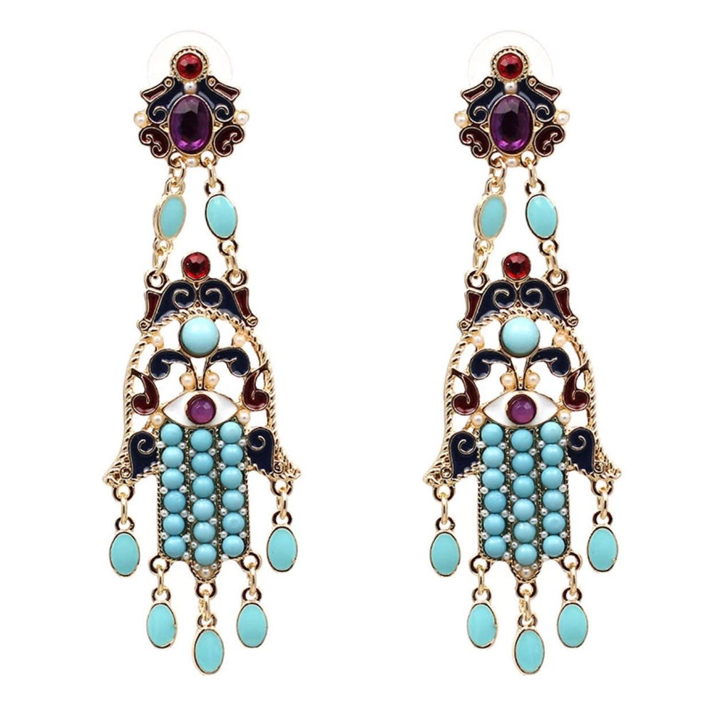 BBMN - 16.01.0021 - COLORFUL STONES HAMSA EARRINGS - ByMargue