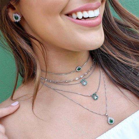 BARBARA BRUNCA FOR PIUKA - 43366 - DOUBLE SCAPULAR FAITH WITH ZIRCONIUM AND EMERALD PLATED IN WHITE RHODIUM