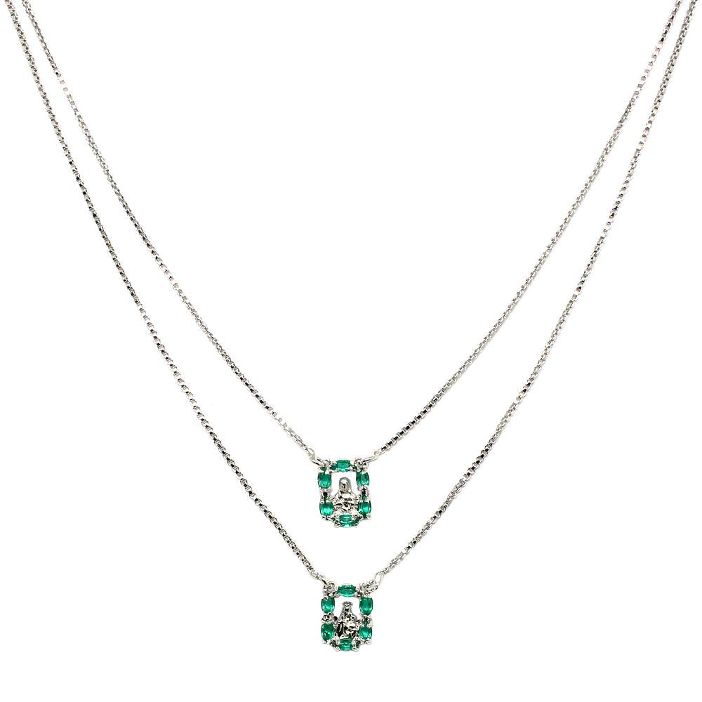 BARBARA BRUNCA FOR PIUKA - 43366 - DOUBLE SCAPULAR FAITH WITH ZIRCONIUM AND EMERALD PLATED IN WHITE RHODIUM - ByMargue