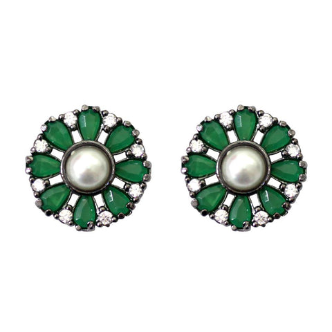 BARBARA BRUNCA FOR PIUKA - 43377 - ROUND SHAPE WITH ZIRCONIUM EMERALD AND PEARL PLATED IN BLACK RHODIUM - ByMargue