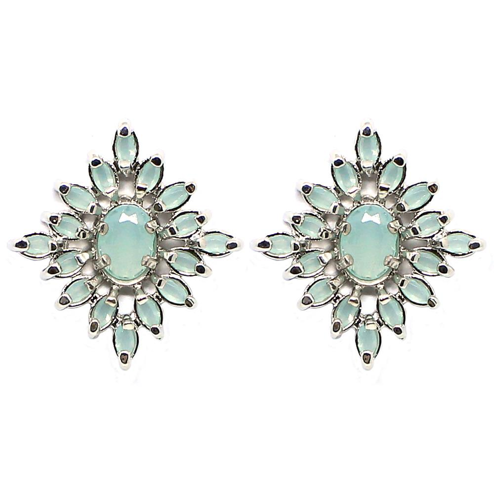 BARBARA BRUNCA FOR PIUKA - 43379 - KLOSS EARRING ZIRCONIUM AQUA PLATED IN WHITE RHODIUM - ByMargue