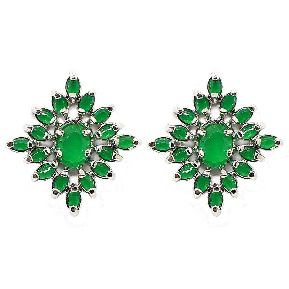 BARBARA BRUNCA FOR PIUKA - 43380 - KLOSS EARRING WITH ZIRCONIUM EMERALD PLATED IN WHITE RHODIUM - ByMargue
