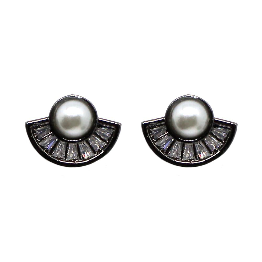 PIUKA EARRING - 43383 - MINI FAN PEARL WITH ZIRCONIUM PLATED IN BLACK RHODIUM - ByMargue