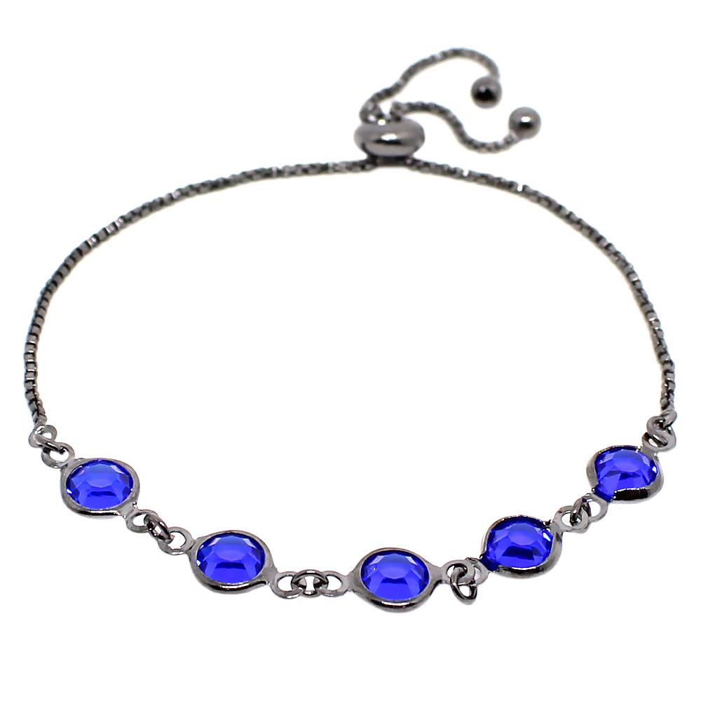 BARBARA BRUNCA FOR PIUKA - 43388 - BRACELET ADJUST 5 CRYSTALS SAPPHIRE PLATED IN BLACK RHODIUM - ByMargue