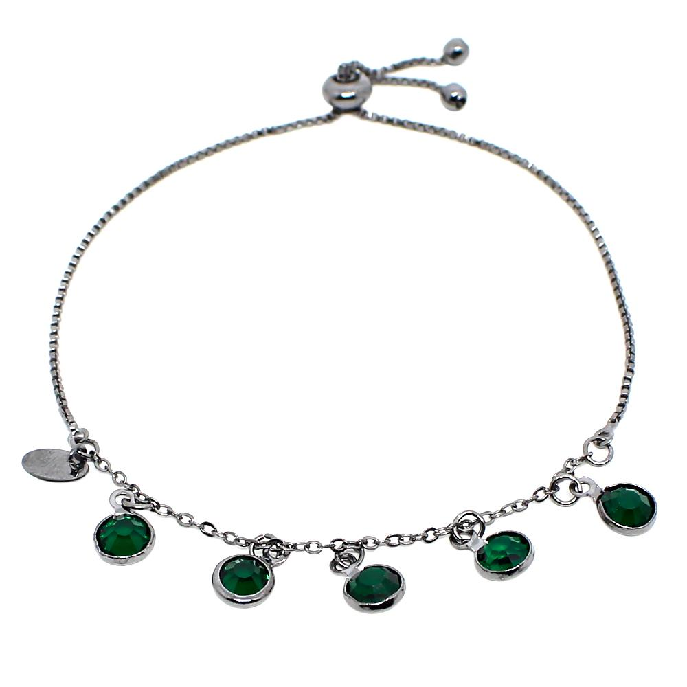BARBARA BRUNCA FOR PIUKA - 43389 - BRACELET ADJUST 5 CRYSTALS EMERALD PLATED IN BLACK RHODIUM - ByMargue