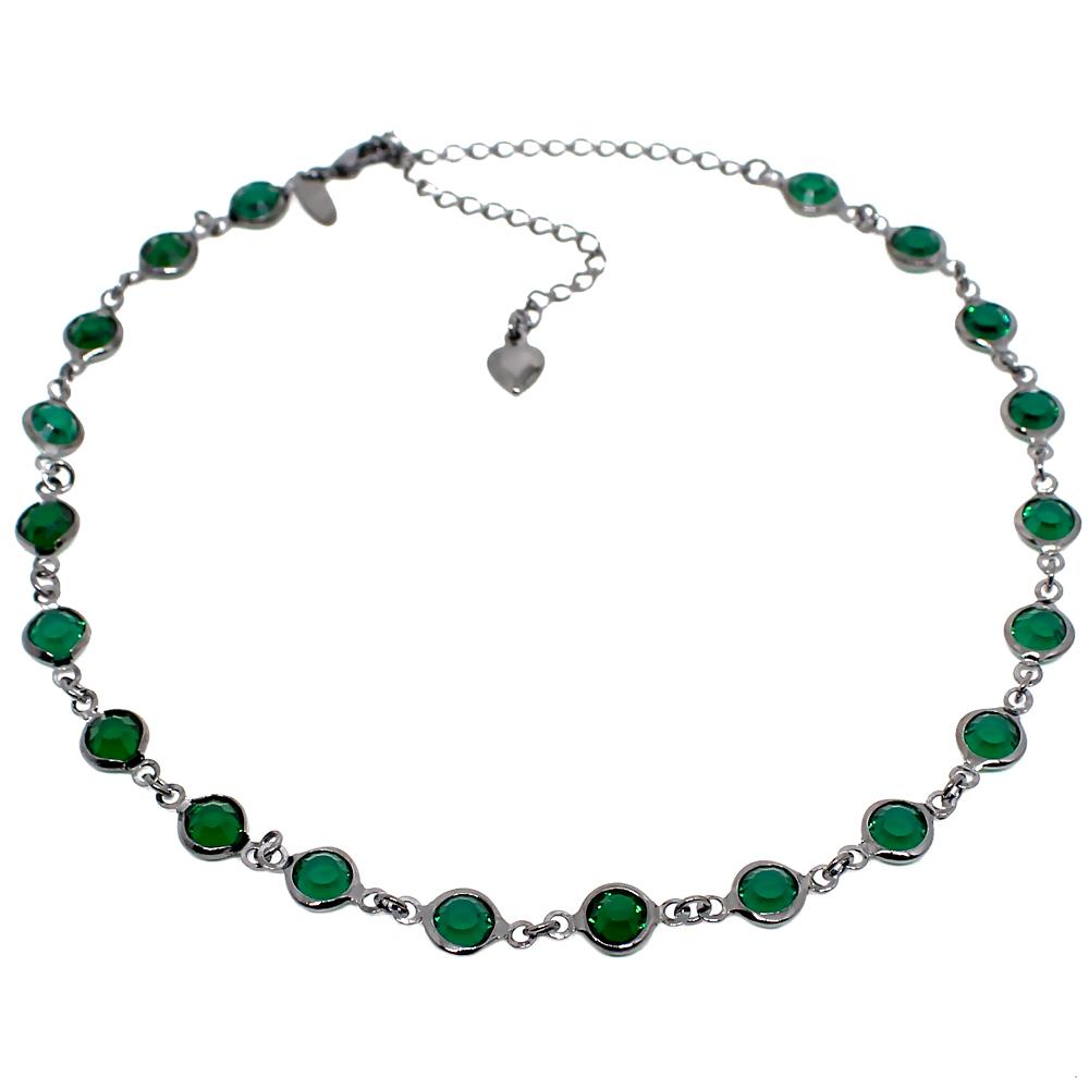 BARBARA BRUNCA FOR PIUKA - 43393 - FULL CRYSTAL EMERALD PLATED IN BLACK RHODIUM CHOKER - ByMargue