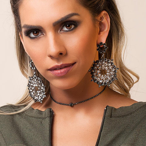 BARBARA BRUNCA FOR PIUKA - 43408 - KIRSTY BLACK STRASS PLATED IN BLACK RHODIUM CHOKER