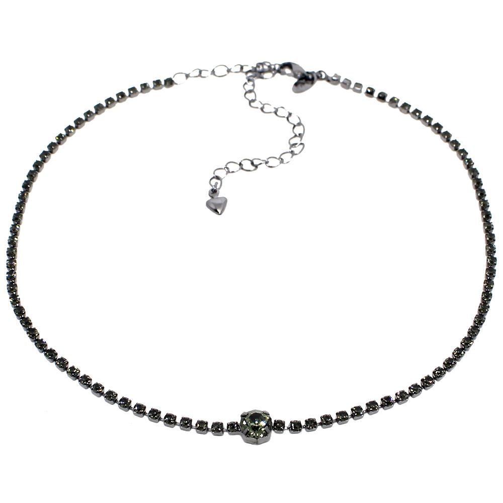 BARBARA BRUNCA FOR PIUKA - 43408 - KIRSTY BLACK STRASS PLATED IN BLACK RHODIUM CHOKER - ByMargue