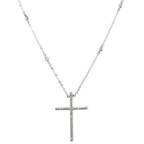 BARBARA BRUNCA FOR PIUKA - 43462 - MY SOUL CROSS ZIRCONIUM PLATED IN WHITE RHODIUM NECKLACE - ByMargue