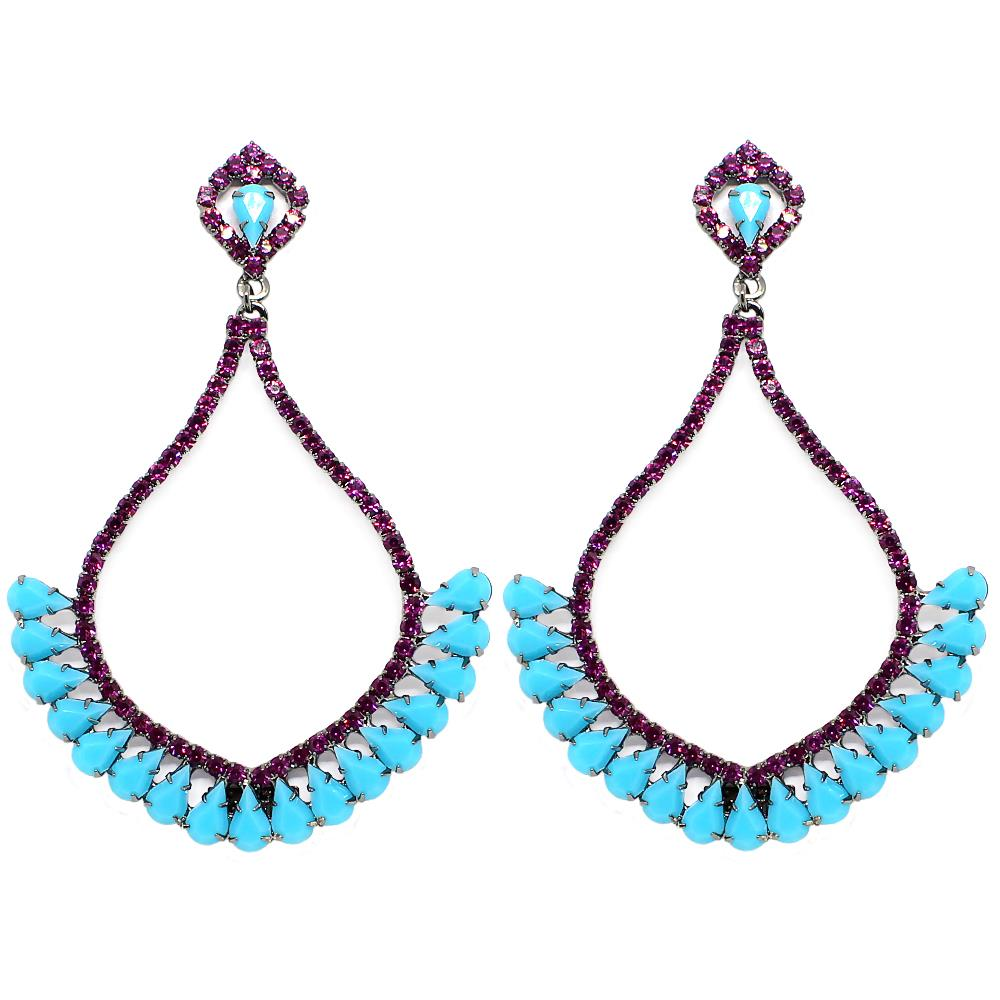 BARBARA BRUNCA FOR PIUKA - 43500 - NIARIA TURQUOISE AND PINK PLATED IN BLACK RHODIUM - ByMargue