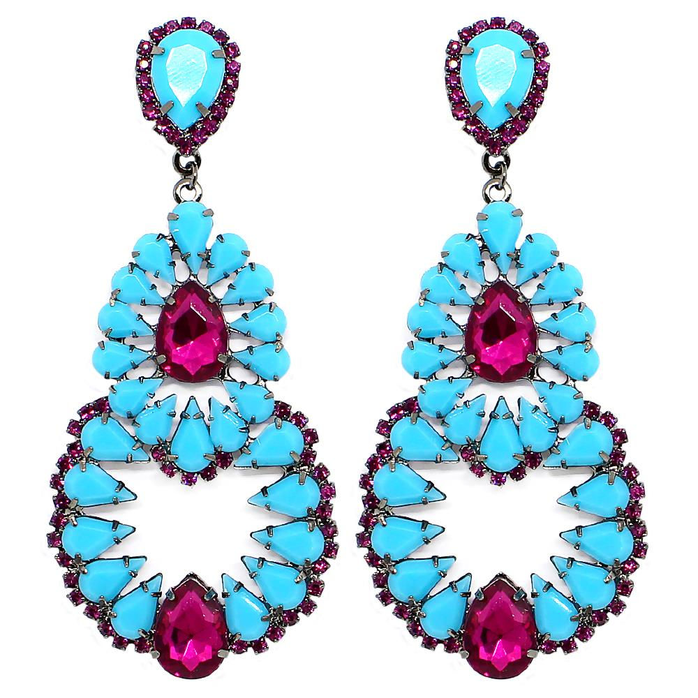 BARBARA BRUNCA FOR PIUKA - 43501 - MALI TURQUOISE AND PINK PLATED IN BLACK RHODIUM EARRING - ByMargue