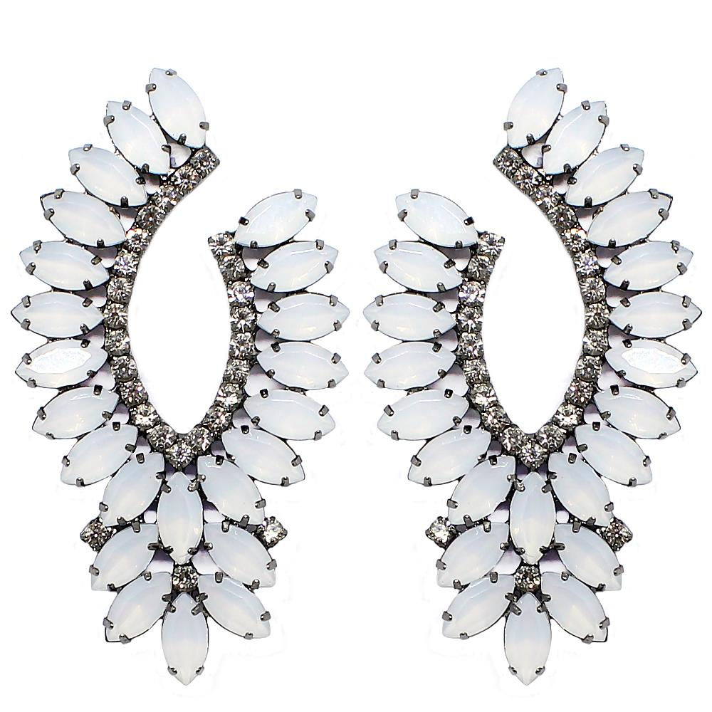 BARBARA BRUNCA FOR PIUKA - 43509 - MILLER WHITE OPAL PLATED IN BLACK RHODIUM EARRING - ByMargue