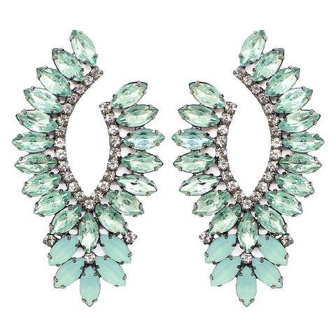 BARBARA BRUNCA FOR PIUKA - 43514 - MILLER AQUA PLATED IN BLACK RHODIUM EARRING - ByMargue