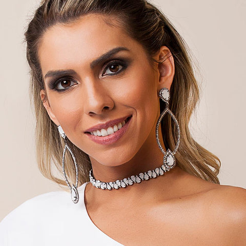 BARBARA BRUNCA FOR PIUKA - 43533 - WHITE DROPS OPAL PLATED IN BLACK RHODIUM CHOKER