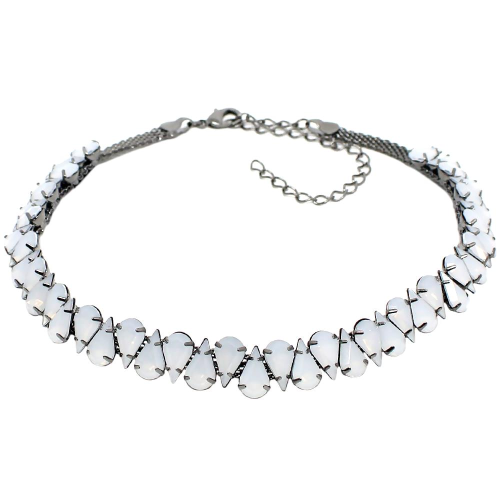 BARBARA BRUNCA FOR PIUKA - 43533 - WHITE DROPS OPAL PLATED IN BLACK RHODIUM CHOKER - ByMargue
