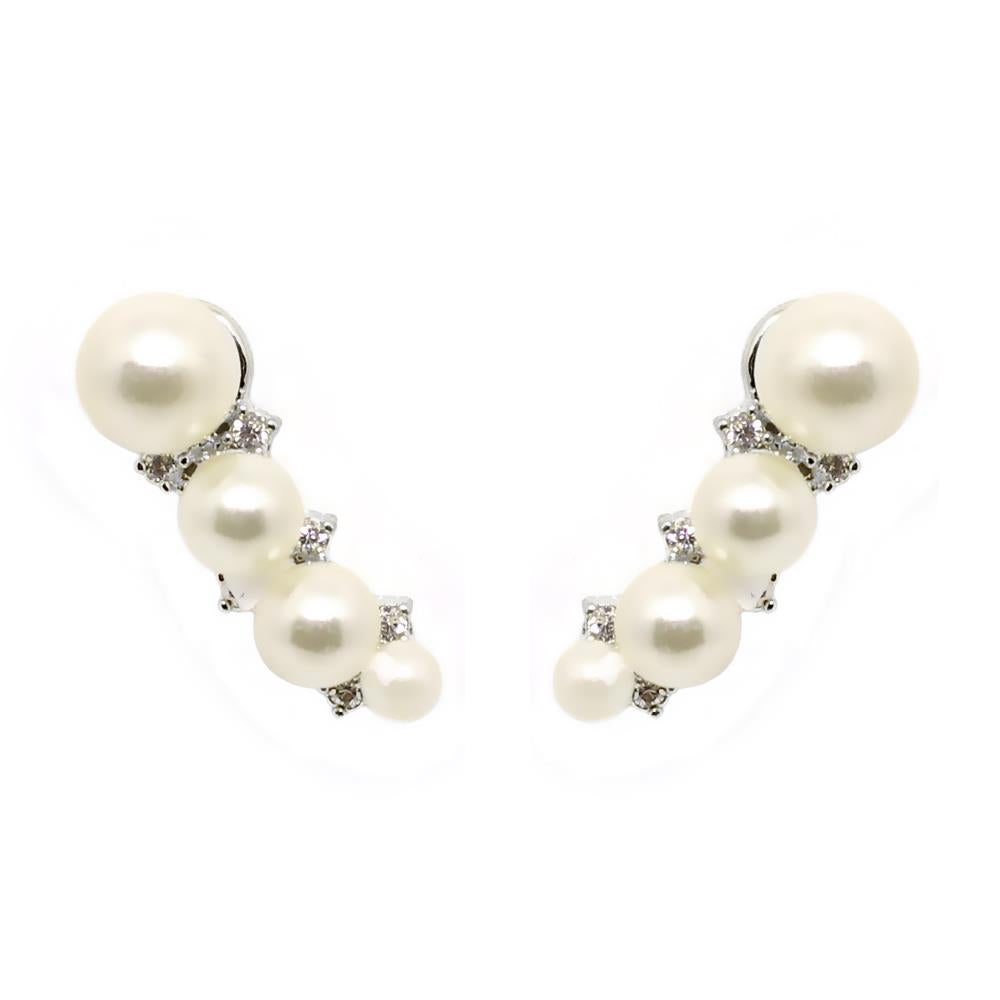 BARBARA BRUNCA FOR PIUKA - 43536 - EAR CUFF FOUR PEARLS WITH ZIRCONIUM PLATED IN WHITE RHODIUM - ByMargue