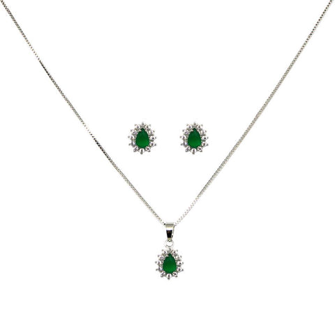 BARBARA BRUNCA FOR PIUKA - 43540 - EARRING AND NECKLACE SET OF EMERALD TEAR ZIRCONIUM PLATED WHIT WHITE RHODIUM - ByMargue