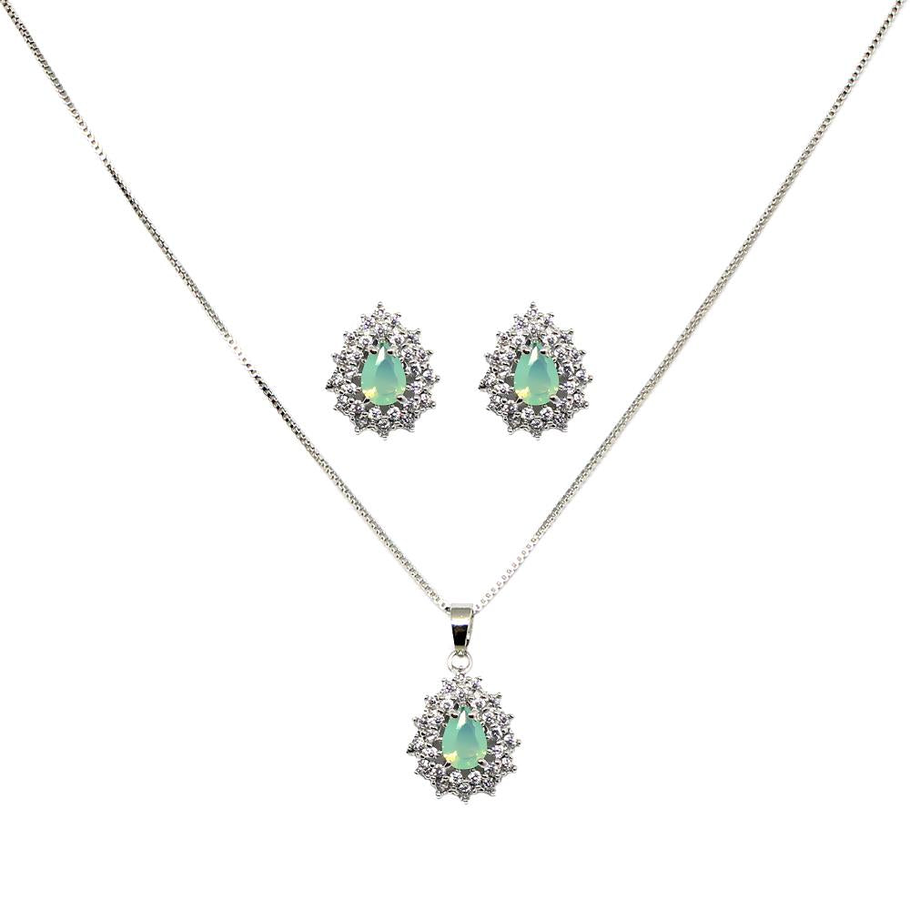 BARBARA BRUNCA FOR PIUKA - 43541 - EARRING AND NECKLACE SET OF TOURMALINE TEAR ZIRCONIUM PLATED WHIT WHITE RHODIUM - ByMargue