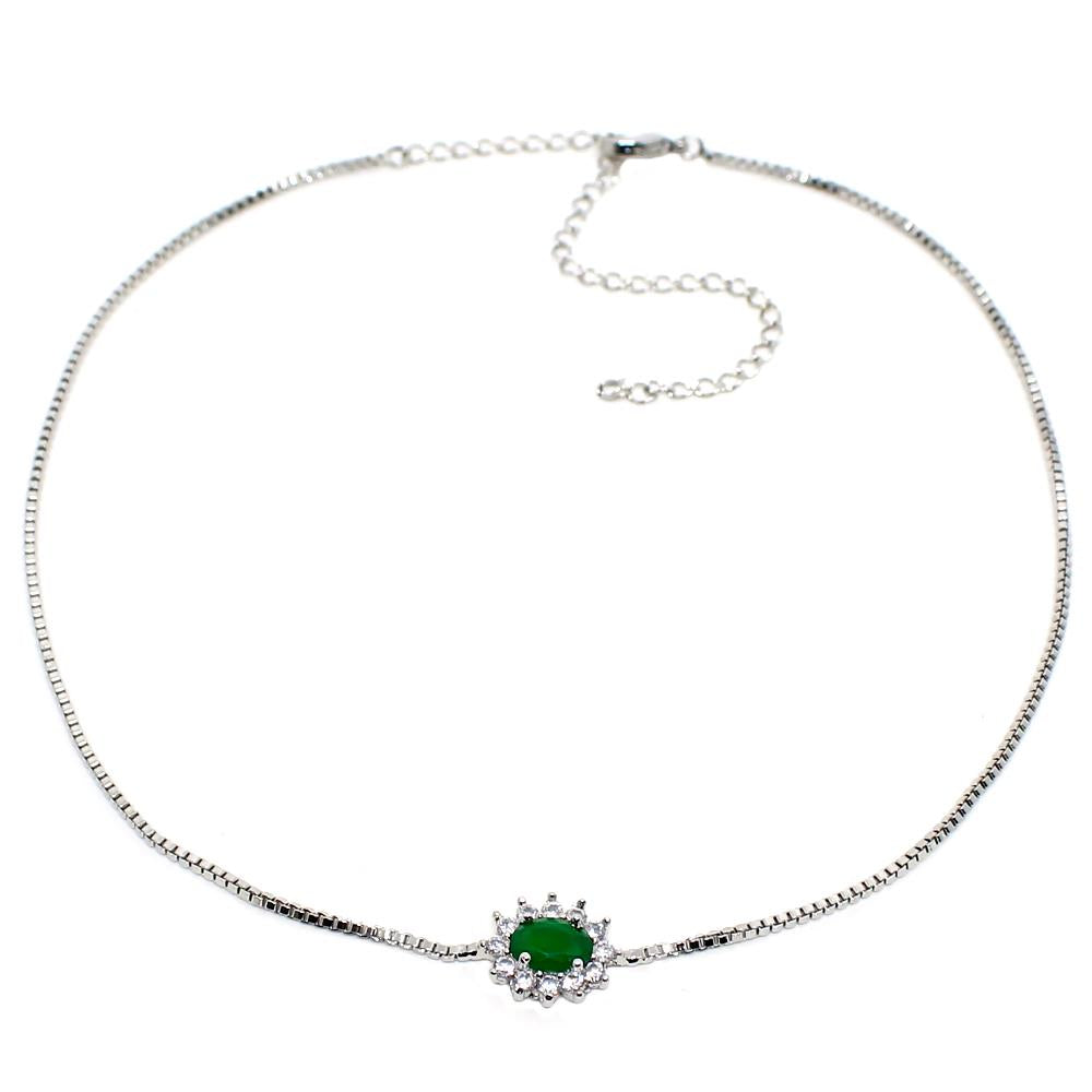 BARBARA BRUNCA FOR PIUKA - 43544 - BEBEL OVAL ZIRCONIUM EMERALD PLATED IN WHITE RHODIUM CHOKER - ByMargue