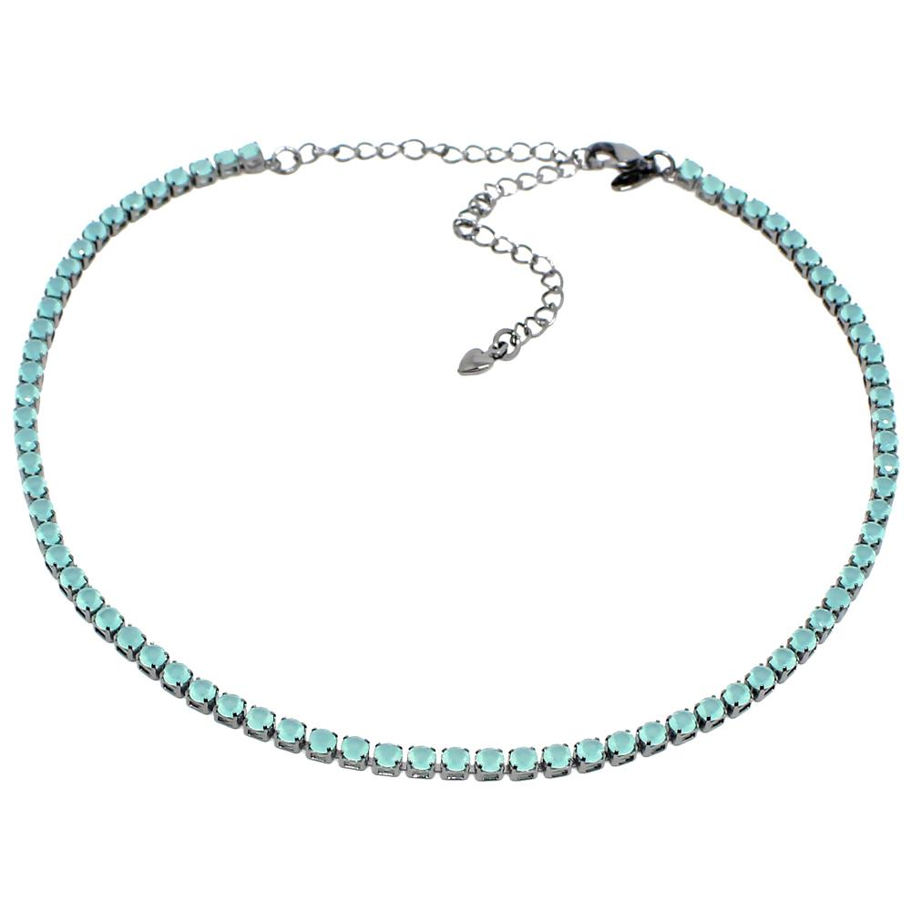 BARBARA BRUNCA FOR PIUKA - 435609 - RIVIERA ZIRCONIUM AQUA PLATED IN BLACK RHODIUM - ByMargue