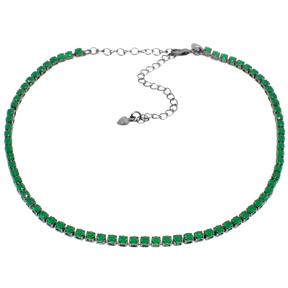 BARBARA BRUNCA FOR PIUKA - 43570 - RIVIERA ZIRCONIUM EMERALD PLATED IN BLACK RHODIUM - ByMargue