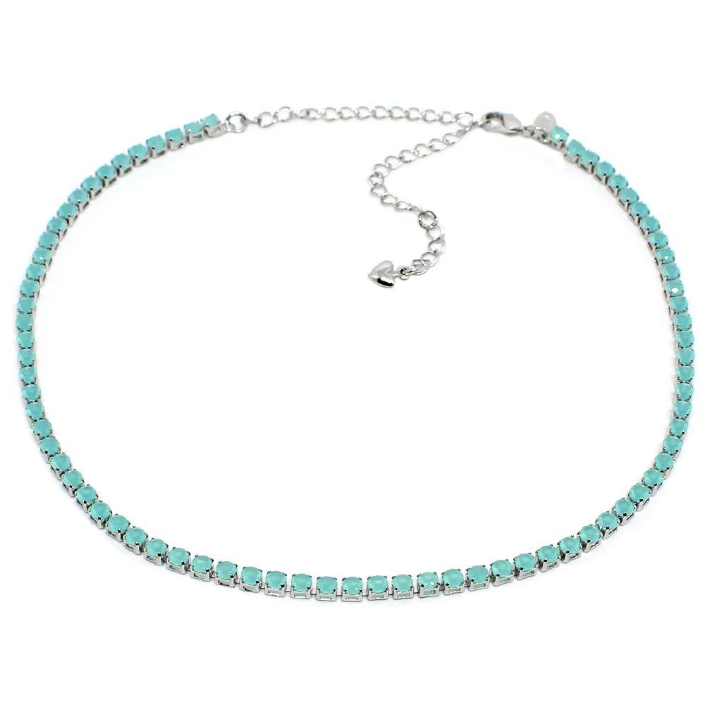 BARBARA BRUNCA FOR PIUKA - 43571 -  RIVIERA ZIRCONIUM AQUA PLATED IN WHITE RHODIUM CHOKER - ByMargue