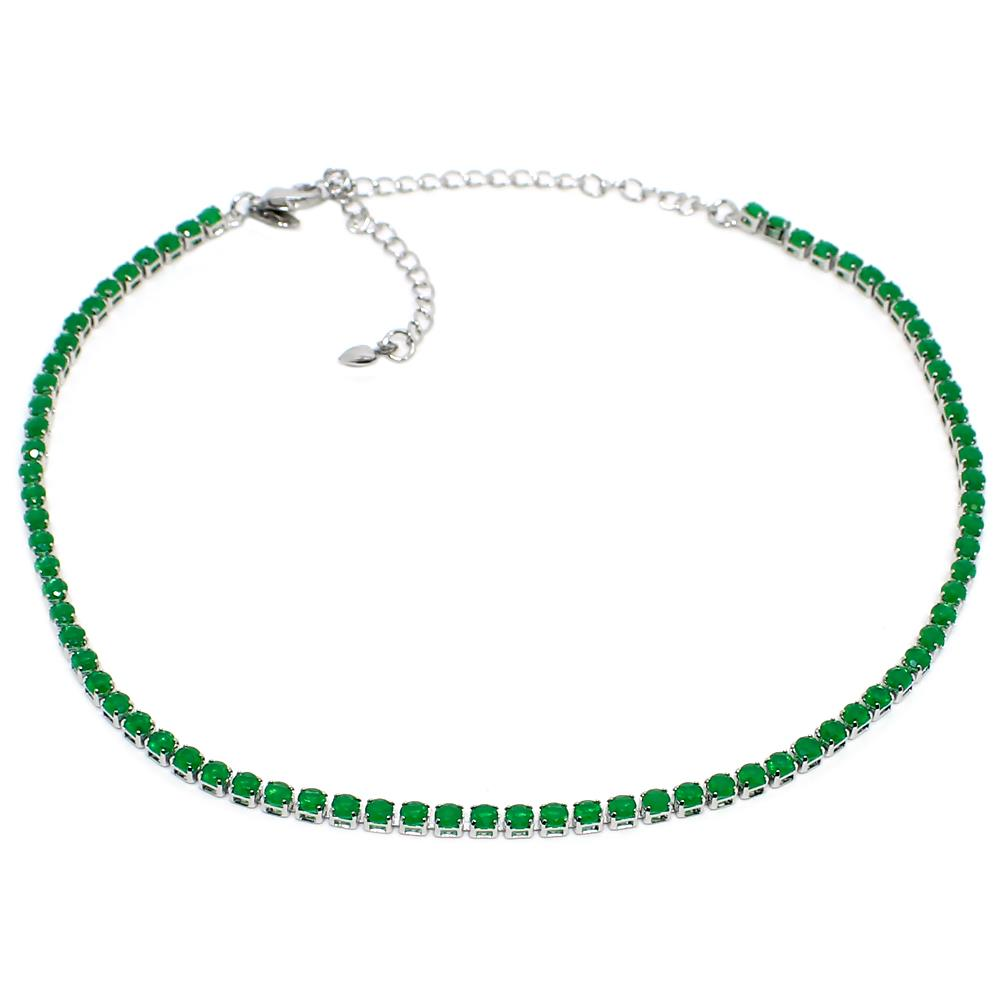BARBARA BRUNCA FOR PIUKA - RIVIERA ZIRCONIUM EMERALD PLATED IN WHITE RHODIUM - ByMargue
