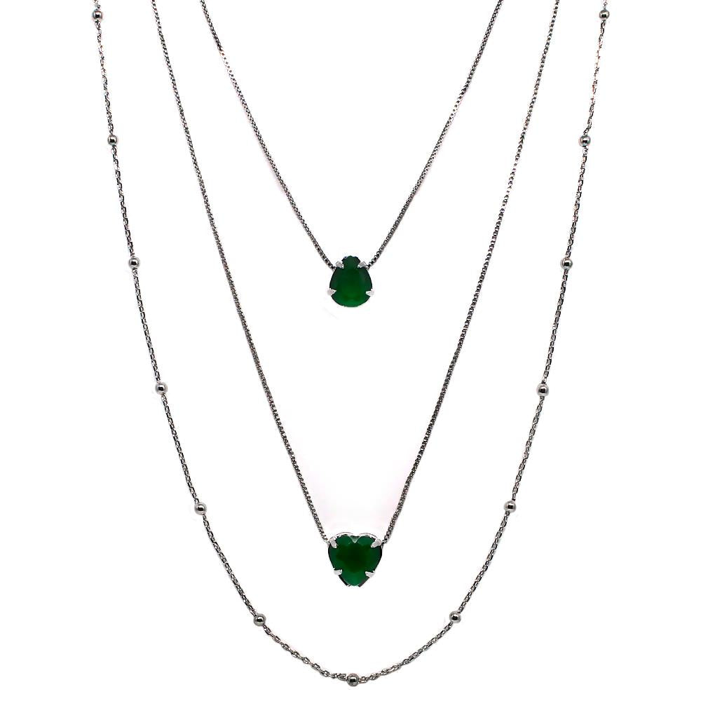 BARBARA BRUNCA FOR PIUKA - 43609 -  LOVE TRIPLE NECKLACE WITH EMERALD STONE SHAPED HEAR AND DROP PLATED IN BLACK RHODIUM - ByMargue