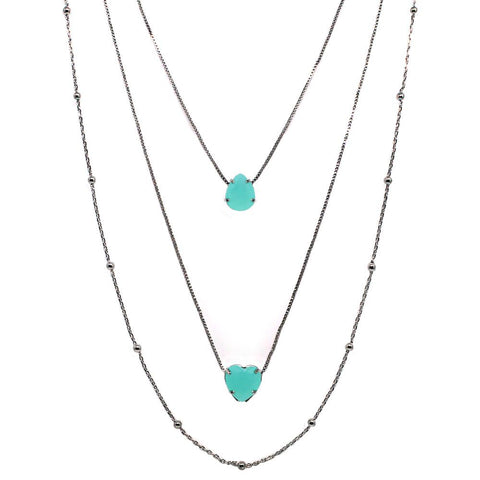 BARBARA BRUNCA FOR PIUKA - 43610 -  LOVE TRIPLE NECKLACE WITH AQUA STONE SHAPED HEAR AND DROP PLATED IN BLACK ZIRCONIUM - ByMargue