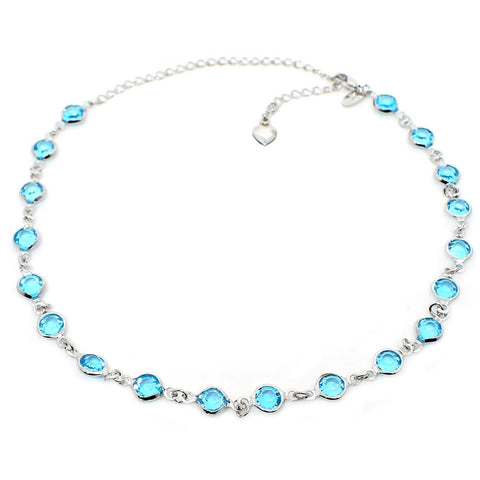 BARBARA BRUNCA FOR PIUKA - 43616 - FULL MOON CRYSTAL AQUA PLATED IN WHITE RHODIUM CHOKER - ByMargue