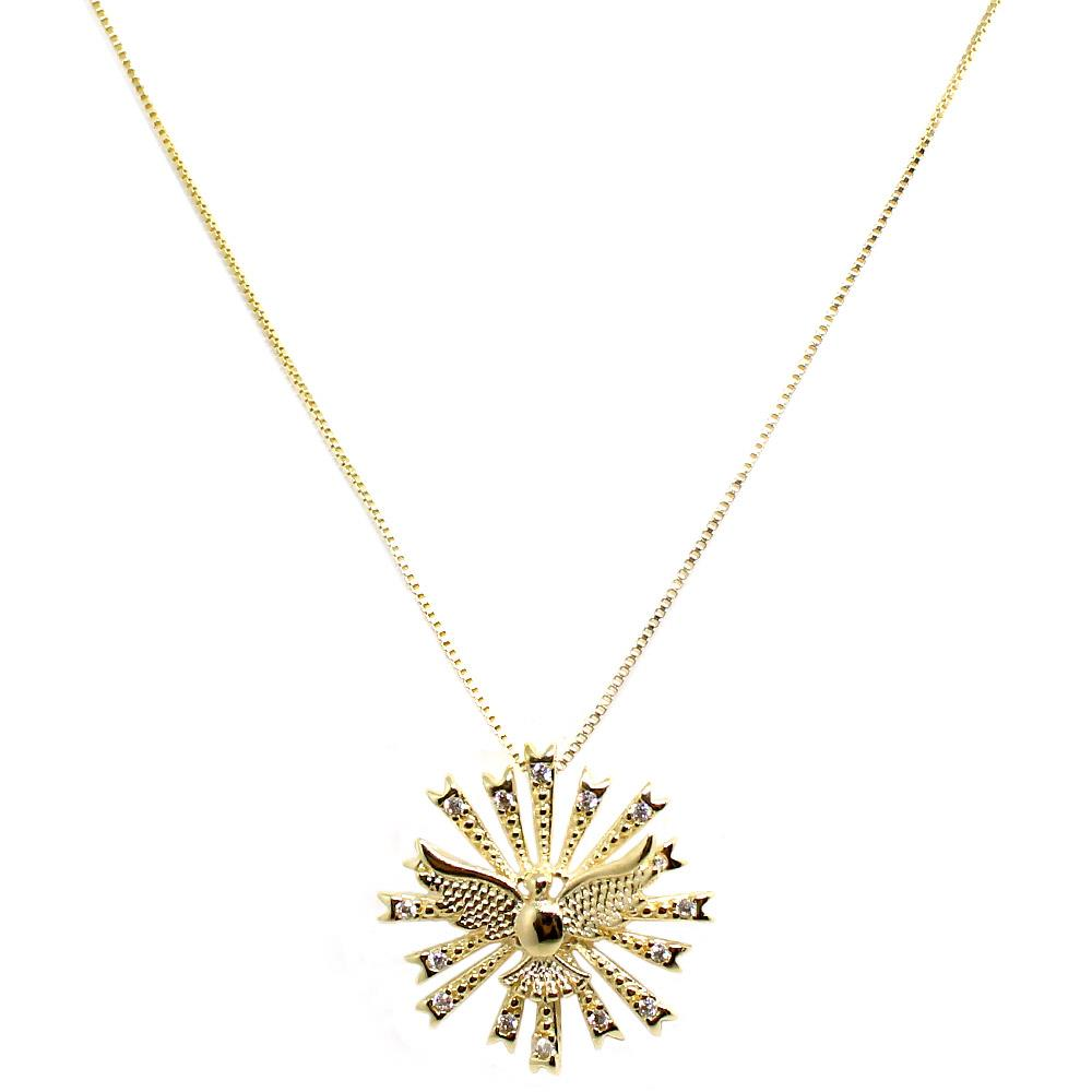 BARBARA BRUNCA FOR PIUKA - 43657 - HOLY SPIRIT ZIRCONIUM PLATED IN YELLOW GOLD NECKLACE - ByMargue