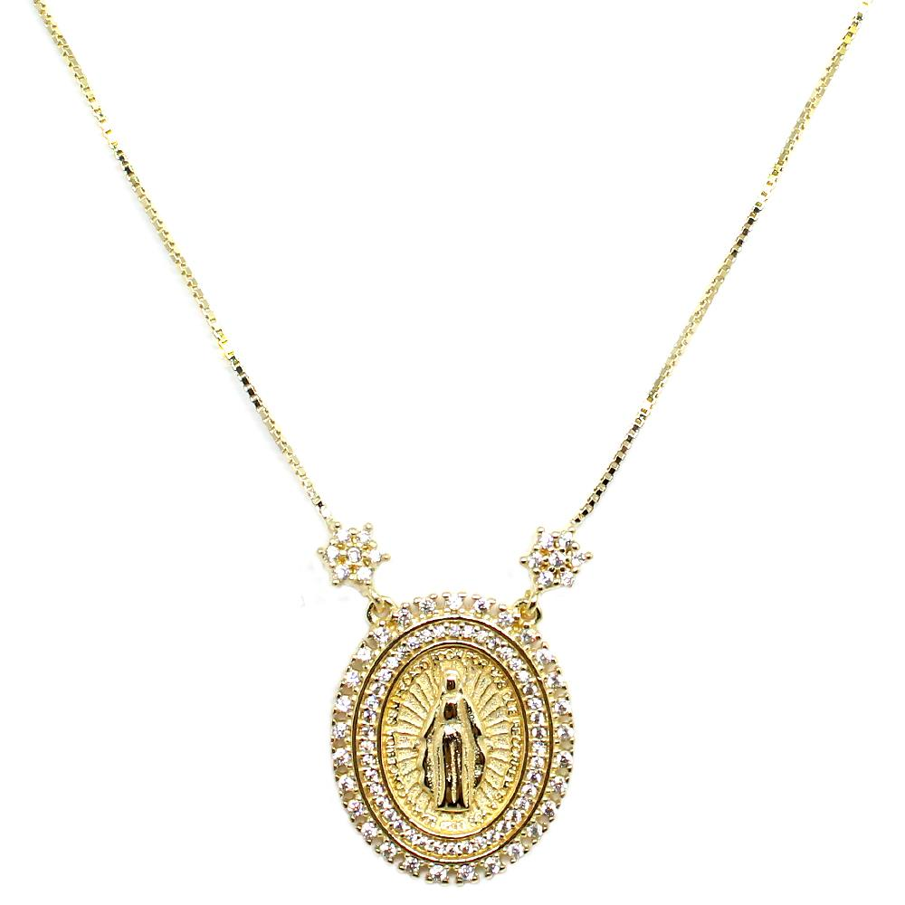 BARBARA BRUNCA FOR PIUKA - OUR LADY OF GRACES ZIRCONIUM WITH YELLOW PLATED NECKLACE - ByMargue
