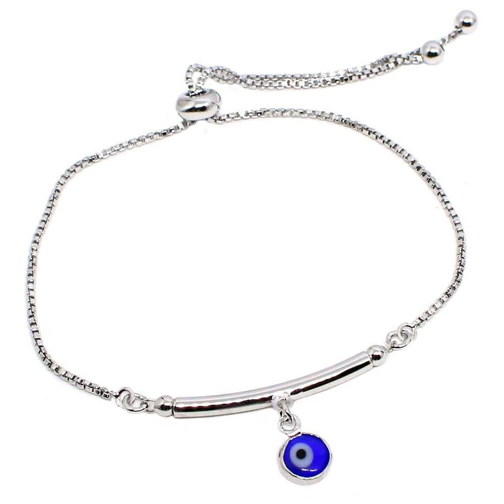 BARBARA BRUNCA FOR PIUKA - 43667 -EVIL EYE ADJUST BRACELET PLATED IN WHITE RHODIUM - ByMargue