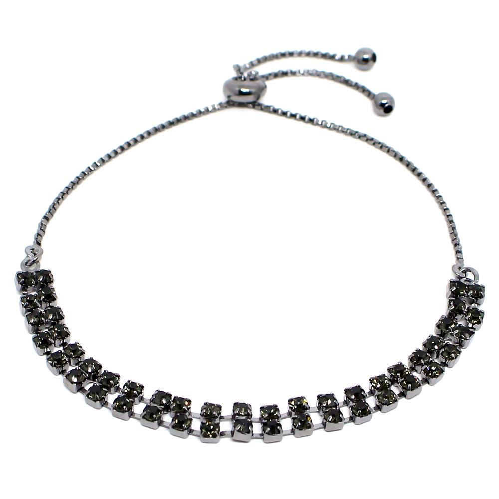 BARBARA BRUNCA FOR PIUKA - 43680 - TWO STRASS LINE ADJUST  BRACELET PLATED IN BLACK RHODIUM - ByMargue