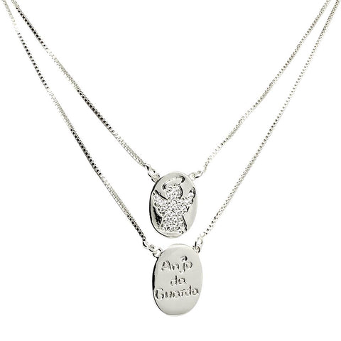 BARBARA BRUNCA FOR PIUKA - 433749 - MY GUARDIAN ANGEL SCAPULAR PLATED IN WHITE RHODIUM - ByMargue