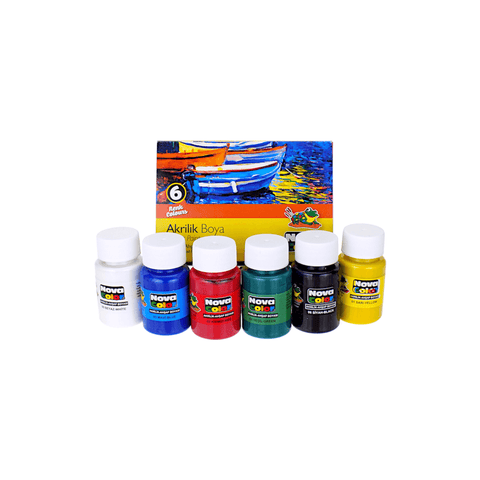 Nova Color Acrylic Paint Set of 6 x 30 ml Jars